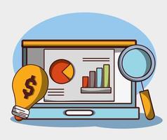 soldi affari finanziari laptop report grafico ricerca creatività vettore