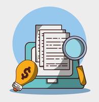 denaro affari finanziari laptop analisi soluzione dcuments vettore