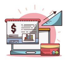soldi affari finanziari laptop relazione carta bancaria freccia su successo vettore