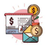 rapporto di crescita della moneta della pianta del email finanziario di affari del denaro vettore
