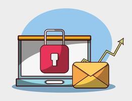 laptop posta elettronica sicurezza dati denaro affari finanziari vettore
