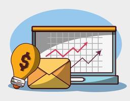 soldi affari finanziari laptop email profitto freccia economia vettore