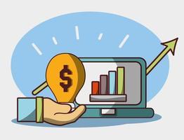denaro affari finanziari statistiche laptop riportano trend rialzista vettore