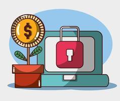 soldi affari finanziari laptop pianta moneta investimento di sicurezza vettore