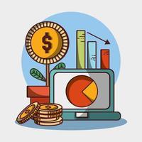 laptop grafico relazione pianta monete denaro affari finanziari vettore