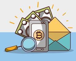 bitcoin smartphone email denaro banconota analisi criptovaluta digitale vettore