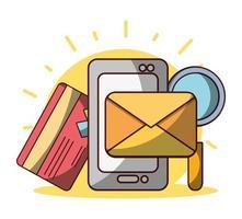 soldi affari finanziari smartphone e-mail carta di credito vettore
