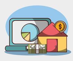 denaro affari finanziari laptop grafico grafico banconote casa investimento vettore