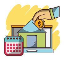mano spingendo moneta in casa investimento calendario aziendale laptop finanziaria vettore