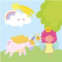 piccola fata principessa con bacchetta magica unicorno arcobaleno fantasia racconto cartone animato vettore