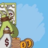denaro sacchi contanti monete valuta banconote affari finanziari vettore