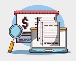 laptop investimento dati digitali denaro affari finanziari vettore