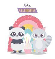 buon compleanno, simpatico procione e panda con cupcake e arcobaleno celebrazione decorazione cartone animato
