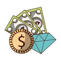 denaro affari finanziari moneta banconote diamante fortuna freccia in alto vettore