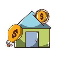 denaro business house investire denaro soluzione icona isolato design ombra vettore