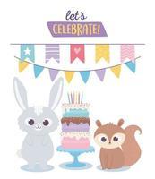 buon compleanno, simpatico coniglio e scoiattolo celebrazione decorazione cartone animato