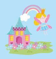 volante alato piccola principessa delle fate arcobaleno e castello con fiori racconto cartoon vettore