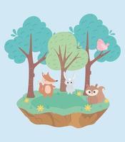 simpatico coniglietto volpe uccello e scoiattolo animali cartone animato vettore