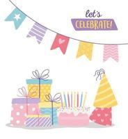 buon compleanno, torta dolce cappelli da festa scatole regalo e gagliardetti celebrazione decorazione cartone animato vettore