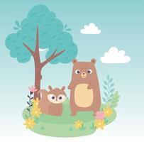 carino piccolo scoiattolo e orso su erba con fiori e albero cartone animato vettore