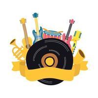 disco musicale in vinile con strumenti
