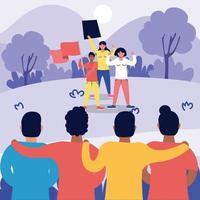 persone forti interrazziali che protestano contro i personaggi