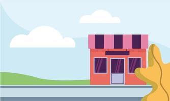 negozio al disegno vettoriale di strada