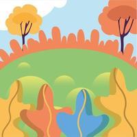 paesaggio del parco con disegno vettoriale alberi
