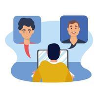 uomo con laptop e video chat bolle disegno vettoriale