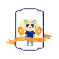 modello di progettazione del distintivo del panda animale del bambino isolato su priorità bassa bianca