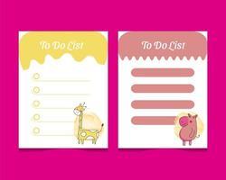 per fare il modello di elenco impostato con i personaggi degli animali del bambino