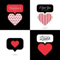 quattro bella carta San Valentino cuore rosso con set di iscrizione vettore