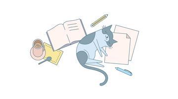 Vettore di gatto e compiti a casa