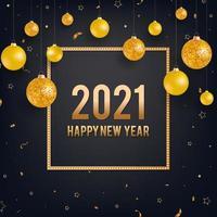 felice anno nuovo sfondo nero con palle di Natale d'oro