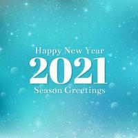 felice anno nuovo 2021 testo design. illustrazione di saluto vettoriale con numeri bianchi e fiocchi di neve. sfondo blu invernale con bokeh, luci e fiocchi di neve