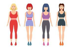 illustrazione di disegno vettoriale di donne sportive isolato su priorità bassa bianca