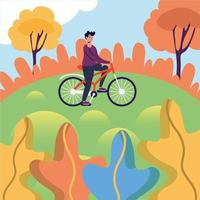 uomo in sella a bici al parco disegno vettoriale