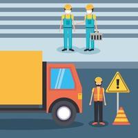 uomini del costruttore con maschere e disegno vettoriale di camion