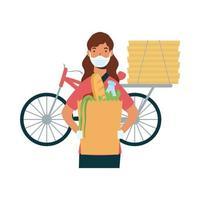 donna di consegna con maschera borsa bici e scatole disegno vettoriale