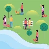 persone al parco disegno vettoriale