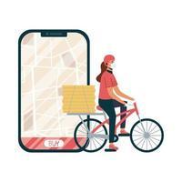 smartphone con mappa di consegna e donna con disegno vettoriale maschera