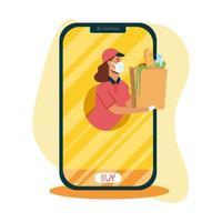 donna di consegna con maschera e borsa su disegno vettoriale di smartphone