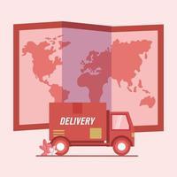 camion di consegna e disegno vettoriale mappa