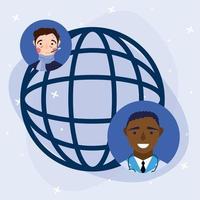medico maschio in linea e uomo malato con disegno vettoriale sfera globale