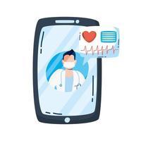 medico professionista con lo stetoscopio in smartphone