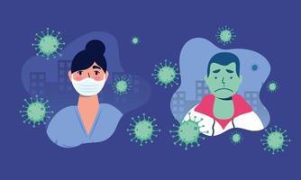 dottoressa e uomo malato usando la maschera per il covid19 vettore