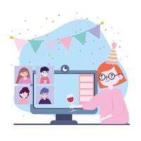 festa online, incontro con gli amici, donna con bicchiere di vino che celebra un gruppo di computer