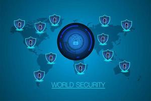 tecnologia futura del circuito binario del mondo, fondo blu di concetto di sicurezza informatica di hud