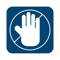 stile della linea del segnale di arresto della mano vettore