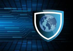 futuro e tecnologia sfondo blu sicurezza con mappa del mondo